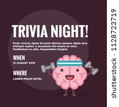 trivia night poster with brain... | Shutterstock .eps vector #1128723719