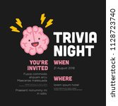 trivia night poster with brain... | Shutterstock .eps vector #1128723740