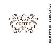 coffee shop logo design element ...   Shutterstock .eps vector #1128726428