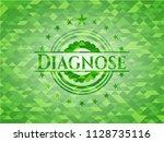 diagnose realistic green emblem.... | Shutterstock .eps vector #1128735116