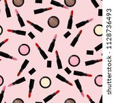 make up pattern with lipstick ... | Shutterstock .eps vector #1128736493
