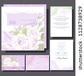 set of wedding cards or... | Shutterstock .eps vector #1128738929