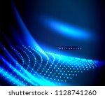 neon glowing techno lines  hi... | Shutterstock .eps vector #1128741260