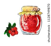 jar of jam or jelly and fresh... | Shutterstock . vector #1128749870