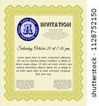 yellow retro invitation. with... | Shutterstock .eps vector #1128752150