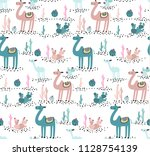 camel and cactus seamless... | Shutterstock .eps vector #1128754139