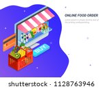 order food  grocery online from ... | Shutterstock .eps vector #1128763946