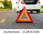 problems car and a red triangle ...   Shutterstock . vector #1128767183