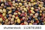 mixed mediterranean salad... | Shutterstock . vector #1128781883