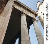 marble roman column with... | Shutterstock . vector #1128789200