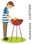 man cooks barbecue | Shutterstock .eps vector #112879309