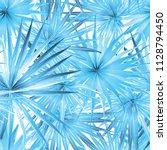 palm monstera seamless pattern. ... | Shutterstock .eps vector #1128794450