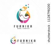 colorful furniture logo. symbol ... | Shutterstock .eps vector #1128798200