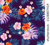 seamless tropical vector... | Shutterstock .eps vector #1128807419