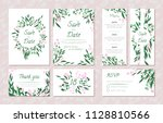 wedding card templates set with ... | Shutterstock .eps vector #1128810566