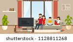 young family at home sitting on ... | Shutterstock .eps vector #1128811268