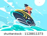 guy riding water scooter in sea....   Shutterstock .eps vector #1128811373
