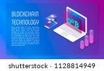 blockchain isometric composition | Shutterstock .eps vector #1128814949