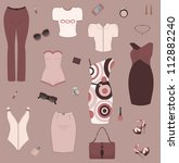 set of women clothes and... | Shutterstock . vector #112882240