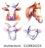 farm animals. cow  horse  sheep ... | Shutterstock . vector #1128826223