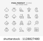 thin line icons set of babies ... | Shutterstock .eps vector #1128827480