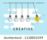 newton's cradle with glowing... | Shutterstock .eps vector #1128831059