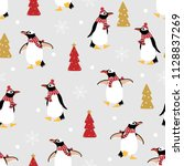 cute penguin in winter costume... | Shutterstock .eps vector #1128837269