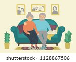 happy senior couple. senior man ... | Shutterstock .eps vector #1128867506