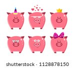 cute cartoon  pigs set. icons | Shutterstock .eps vector #1128878150