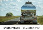 a truck tank of gasoline with... | Shutterstock . vector #1128884240
