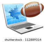 Illustration of a football ball flying out of a broken laptop computer screen - stock vector