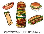 collection set fast food kebab... | Shutterstock .eps vector #1128900629