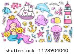 mermaid  dolphin  sailing ship  ... | Shutterstock .eps vector #1128904040