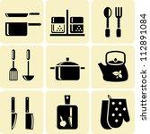 kitchen utensil icons | Shutterstock .eps vector #112891084