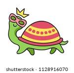 funny turtle in sunglasses.... | Shutterstock .eps vector #1128916070