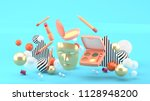 golden masks and floating... | Shutterstock . vector #1128948200