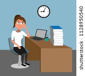 too much work in the office  ... | Shutterstock .eps vector #1128950540