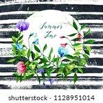 watercolor illustration  summer ... | Shutterstock . vector #1128951014