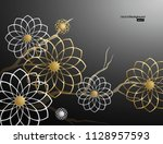 3d branches of white and golden ... | Shutterstock .eps vector #1128957593