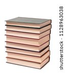 stack of old paper books on a... | Shutterstock . vector #1128963038