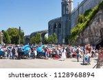view on the christian pilgrims... | Shutterstock . vector #1128968894