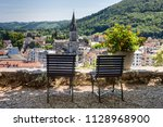 view on the city of lourdes... | Shutterstock . vector #1128968900