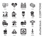 set of 16 icons such as... | Shutterstock .eps vector #1128974540