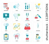 set of 16 icons such as dentist ... | Shutterstock .eps vector #1128976046