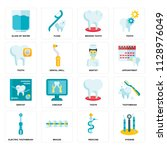 set of 16 icons such as hygiene ... | Shutterstock .eps vector #1128976049