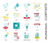 set of 16 icons such as hygiene ... | Shutterstock .eps vector #1128976070