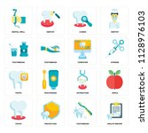 set of 16 icons such as health... | Shutterstock .eps vector #1128976103