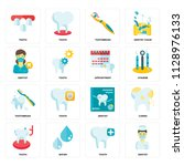 set of 16 icons such as dentist ... | Shutterstock .eps vector #1128976133