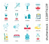 set of 16 icons such as... | Shutterstock .eps vector #1128976139