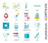 set of 16 icons such as floss ... | Shutterstock .eps vector #1128976196
